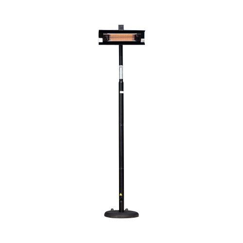 Fire Sense Black Powder Coated Steel Straight Pole Mounted Infrared Patio Heater by Fire Sense. $192.75. Casts 9-foot blanket of heat that?s not affected by wind. Silent operation and full heat output within seconds. Indoor/outdoor infrared heat source with glass cover and no UV rays. Measures 33 by 22 by 92 inches; weighs 37 pounds for optimal stability. Operation costs about 1/10th that of propane heaters. Our patent pending heavy duty Black Powder Coated Steel Offset Infrare...