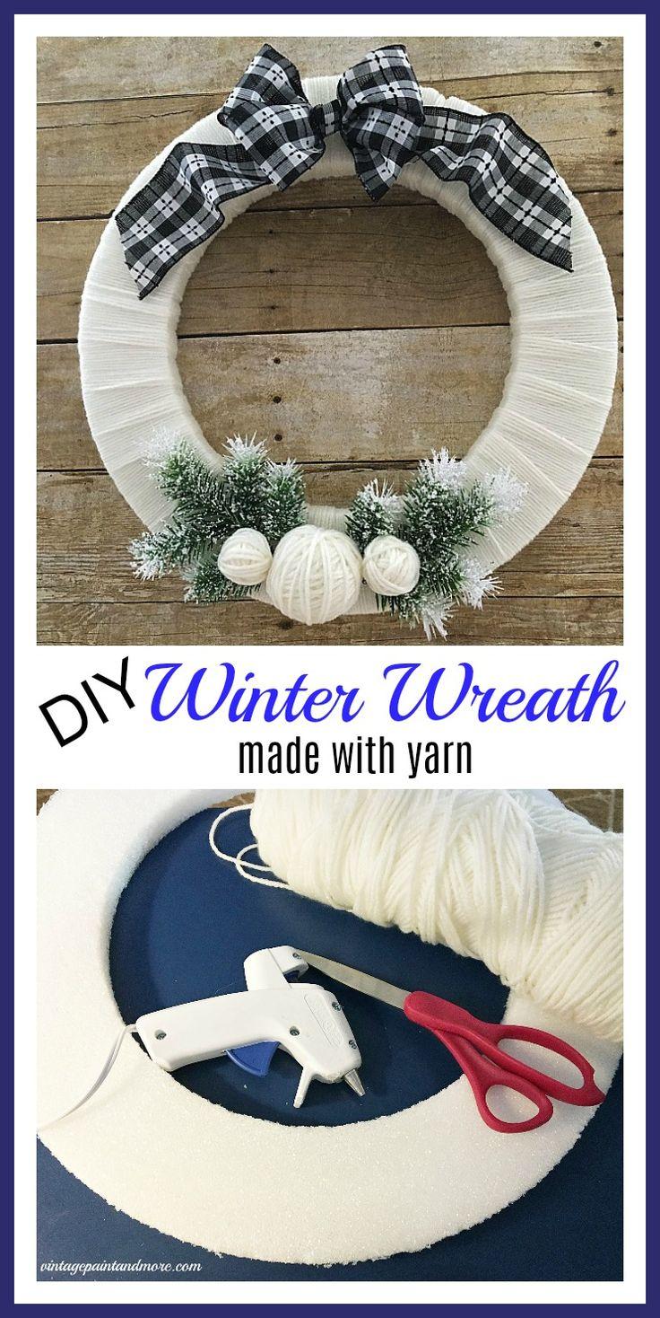 Diy Winter Wreath Using Yarn