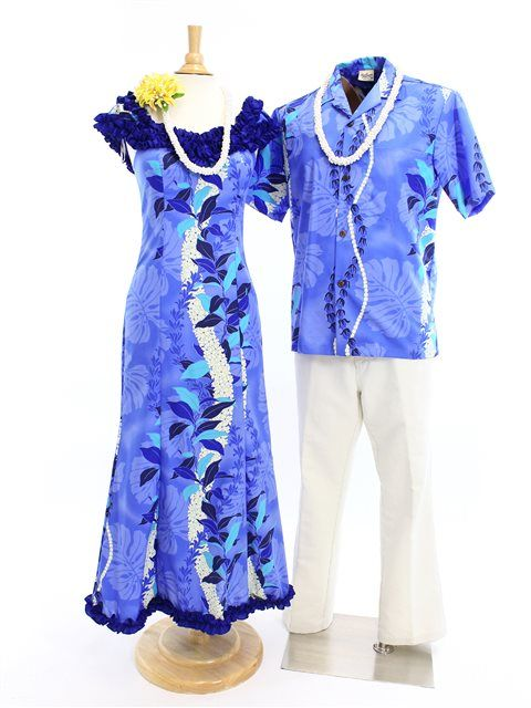 Nahenahe Ruffle Long Muumuu Dress [Monstera Lei/Blue]  - Hula Costumes - Hula Supply | AlohaOutlet SelectShop
