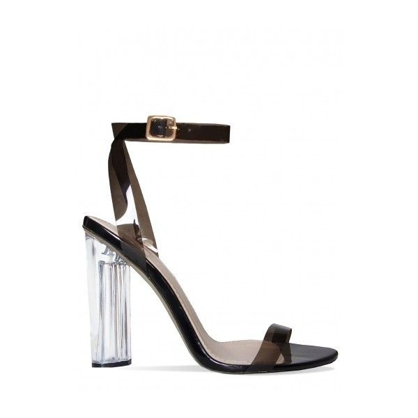 Anastasia Perspex Black Barely There Heels : Simmi Shoes - Love Your... ($10) ❤ liked on Polyvore featuring shoes, pumps, black pumps, strappy shoes, strap pumps, black shoes and black court shoes