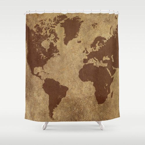 Bathroom Decor, Custom Shower Curtain, World Map, Fun, for Teens, for Kids, for Men, Natural Brown Decor by hhprint on Etsy https://www.etsy.com/listing/249105248/bathroom-decor-custom-shower-curtain