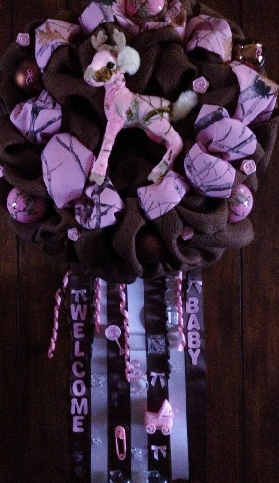 Pink Camo Baby Wreath on Etsy, $70.00  I would like it without the deer and maybe with an RG for realtree girl in the middle.  #Realtree #Wreath