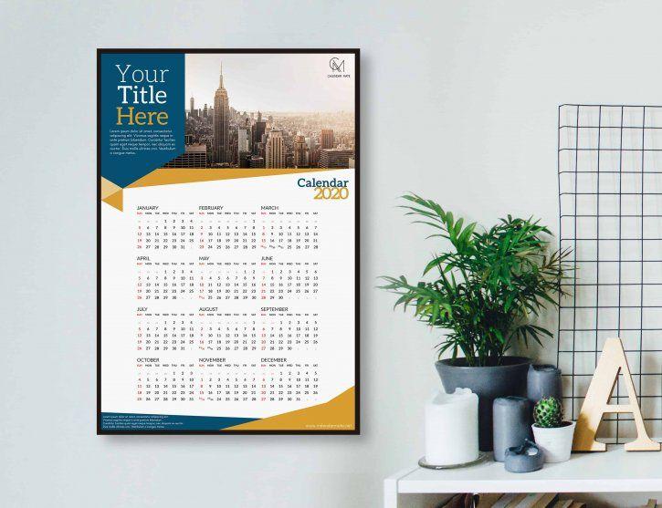 Aria Creative One Page Calendar Design Template 2020 Psd File In