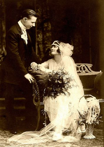Wedding Photo ca 1920. I don't usually collect wedding pics but the adoration of this couple for each other really comes thur