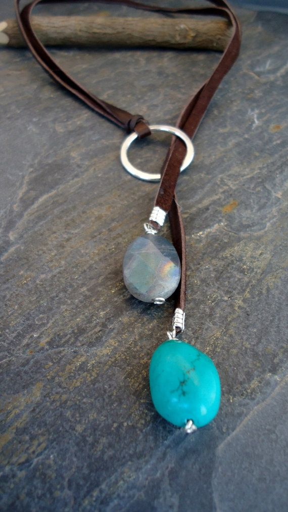 Leather Necklace Leather Turquoise lariat Sterling by IseaDesigns