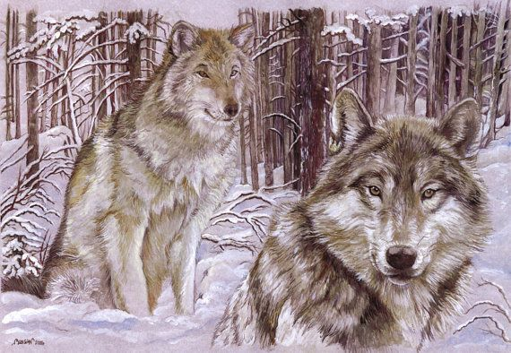 Craft Fabric Wolves in the snow print by MorgansFaeWorld on Etsy, £6.99