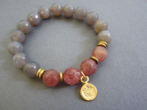 Lotus Bracelet Lotus charm stretch bracelet meditation by Muse411, $35.00