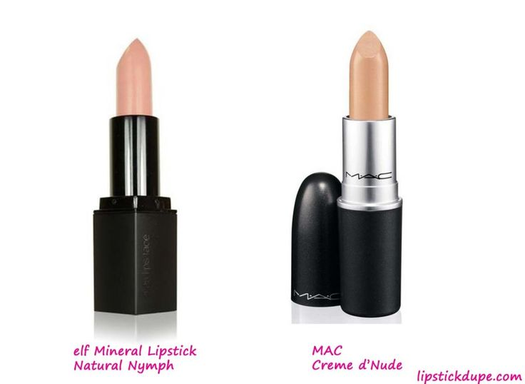 MAC Creme d'Nude #dupe elf Mineral Lipstick in Natural Nymph www.lipstickdupe.com #elf #eyeslipsface #MAC #MACDupes
