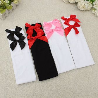 Women Gril Satin Bowknot Stocking Sexy Lovely Over Knee Thigh High Velvet Socks Hosiery at Banggood