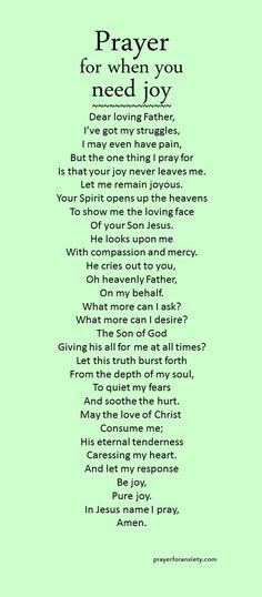 Get what is essential to your soul. This prayer for when you need joy helps you…