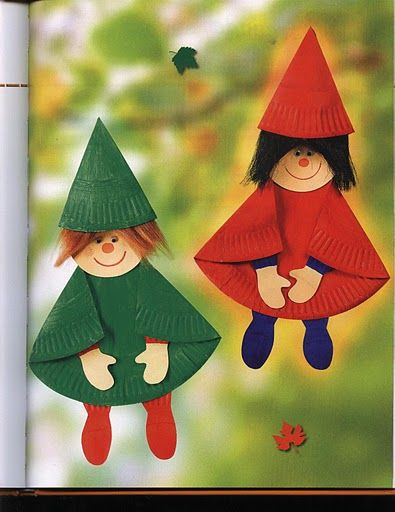 Paper plate craft for gnomes or could be elves.