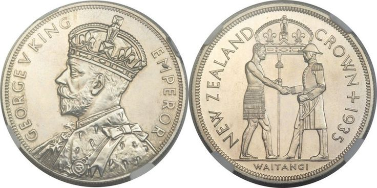 George V Waitangi Proof Crown 1935, reeded edge, rare, just 468 proofs struck,. Struck during the king's Jubilee Year to commemorate the Treaty of Waitangi in 1840, and long considered to be one of the world's most beautiful crowns.