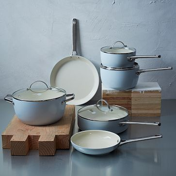 Greenpan Nonstick 10-Piece Set - Blue #westelm $249.95 -- these are gorgeous. Would love a set of these to replace my mishmash set.