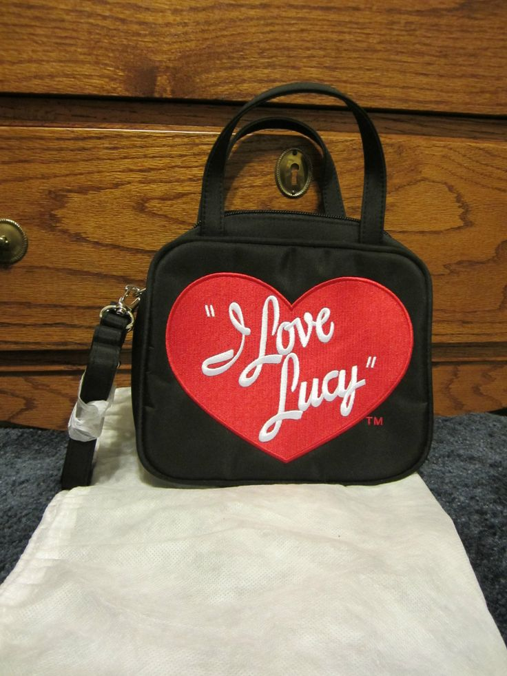 I Love Lucy small purse or cosmetic bag, black with red