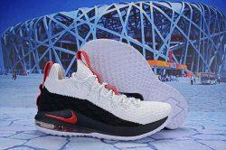 84a3020a6f6 Nike LeBron 15 Low White Black Red AO1755 045 Men s Basketball Shoes James  Trainers