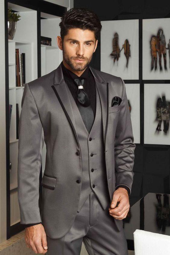 59ec26679be 2017 Latest Coat Pant Designs Smoking Grey Satin Men Suit Slim Fit 3 Piece  Groom Tuxedo Custom Suits Prom Blazer Terno Masculino