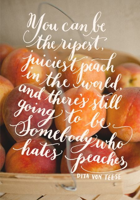 you can be the ripest juiciest peach in the world and there's still going to be somebody who hates peaches