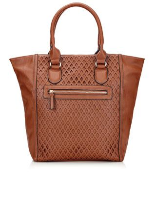 Darwin Diamond Cutwork Shopper | Brown | Monsoon