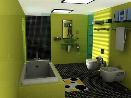 Picture Gallery For Website A lime green bathroom with a Black tiled shower my favorite color bo