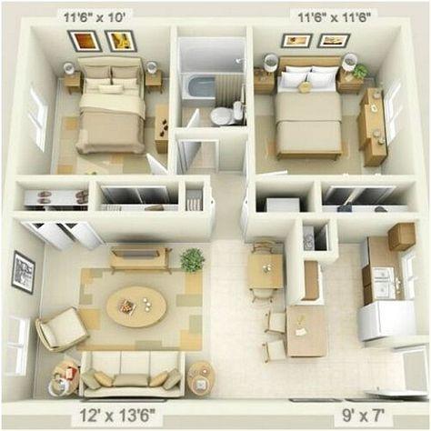 desain sketsa denah rumah sederhana 2 kamar tidur | diseño