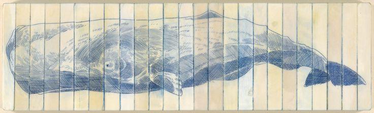 SCOTT KELLEY STUDIO   Sperm Whales, 2013. Scrimshaw on reclaimed ivory,...