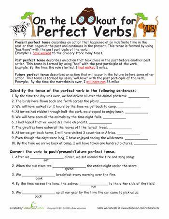 Worksheets: Perfect Verb Tense