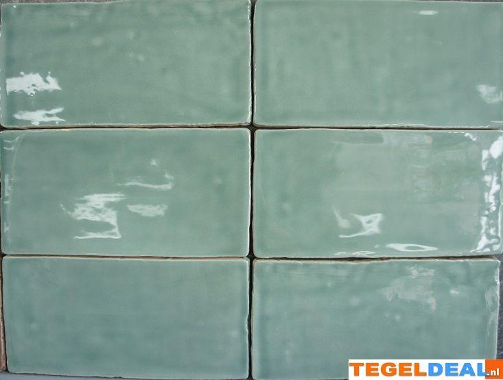 Handvorm Jade, 7,5x15 cm á 42,50, wandtegel | Wandtegel handvorm, Jade / groen, 7,5x15 cm, replica Friese witjes