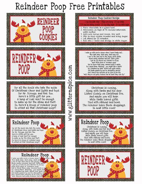 Reindeer Poop Poem Free Printables