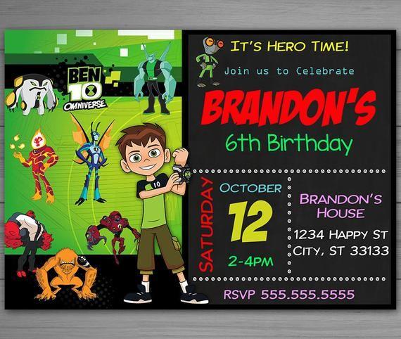 Ben 10 Editable Invitation Ben 10 Invitation Instant Etsy Editable Invitations Ben 10 Ben 10 Birthday Party
