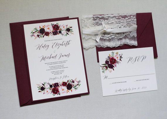 Wedding Invites Pinterest: Boho Marsala Wedding Invitation, Fall Wedding Invitation