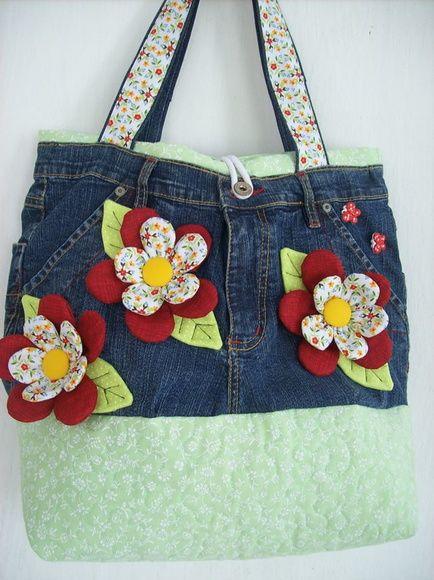 "Bolsa Jeans "" Flowers"""