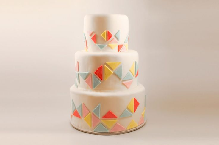 geometric triangles patterned cake