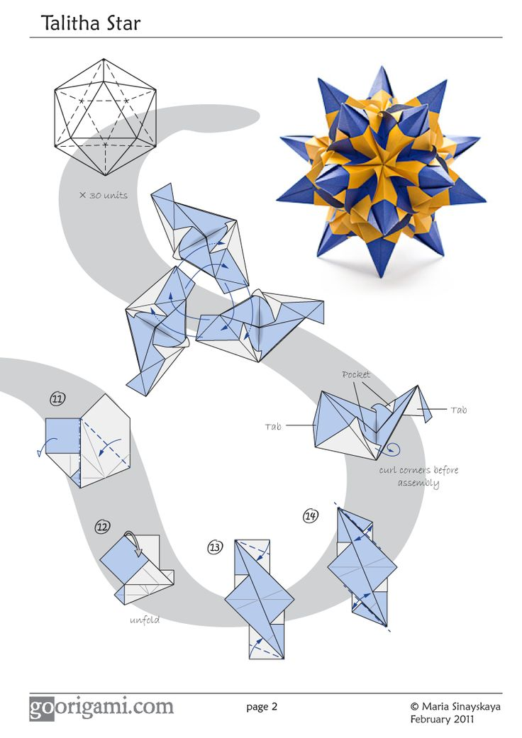 Diagram for a modular origami kusudama, Talitha Star, designed by Maria Sinayskaya. Folded with 30 square sheets of paper, assembled without glue.