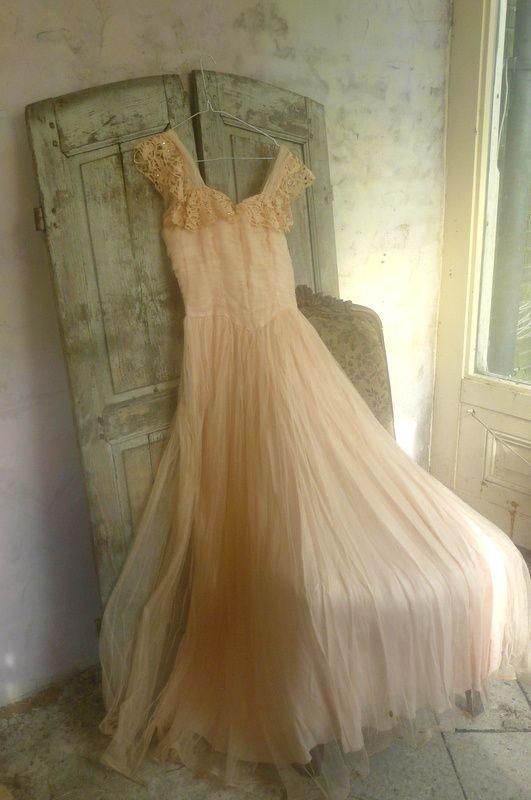 Romantic Dress --vintage tule jurk | Textiel Accessoires | De Merel Brocante webwinkel