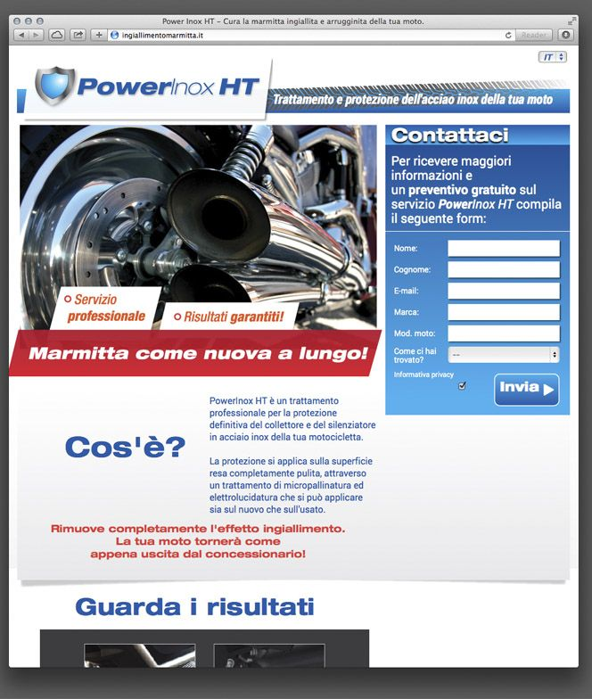 Website for bikers and mechanics to discover the ultimate chemical treatment for stainless steel tubes and mufflers.