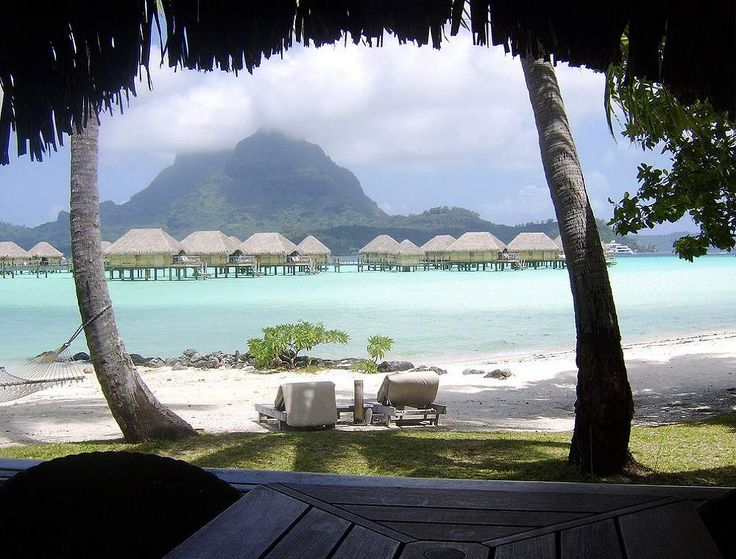 View from a beach bungalow - Bora Bora Pearl Beach Resort, French Polynesia.  Click the photo--there's 48 hi-res pics of this resort, plus 4 videos and 7 virtual tours.