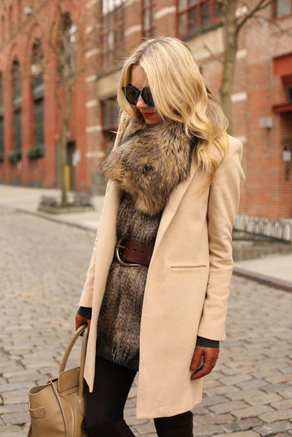 'Tis the Season for Layers, atlantic pacific, wool coat over fake fur vest