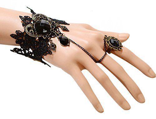 Gothic Bracelet Black Jewel Lace Halloween Vintage Sexy Accessory Party Fancy