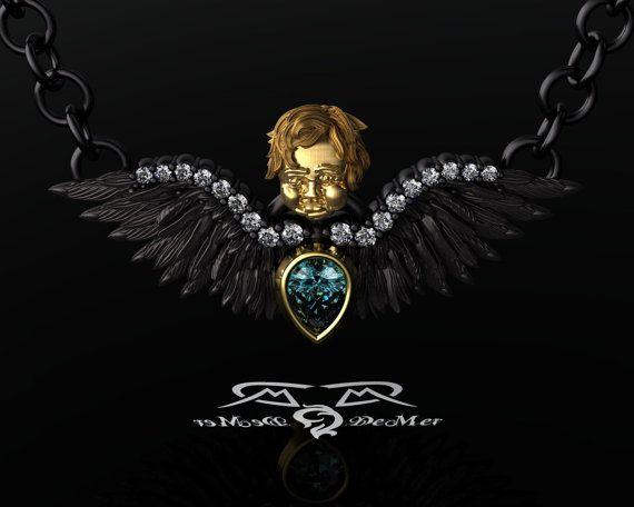 Memento Mori Cherubino Angelo corvo ala Collana ciondolo. Europeo oro diamanti 14kt corvi ali su catena argento. Gioielli da lutto.