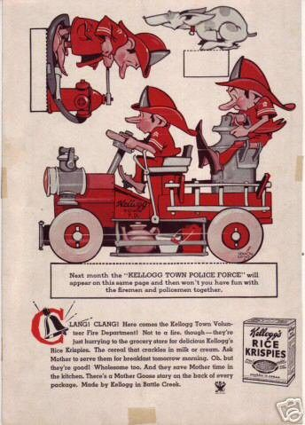 This is the heavy paper back cover from TINY TOWER magazine, presumably for April 1935 as it carries a calendar for May on the back. Vernon Grant was famous for creating the gnomes Snap, Crackle and P