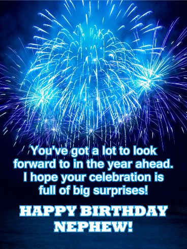 Blue Fireworks Happy Birthday Card For Nephew A Sky Full Of Fireworks Is A Wonderful Way To