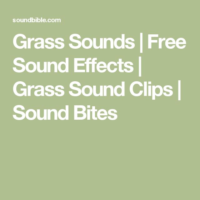 Grass Sounds | Free Sound Effects | Grass Sound Clips | Sound Bites