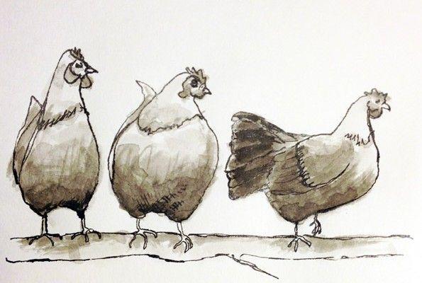 Høner på række og pind....