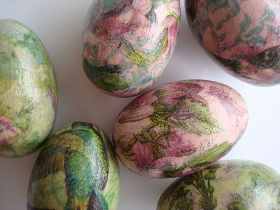 Pink flowers easter eggsdecoupaged eggswooden by Valelval on Etsy