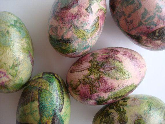 Pink flowers easter eggsdecoupaged eggswooden by Valelval on Etsy