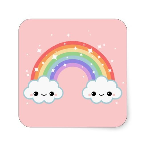 Cute Clouds with Rainbow Square Sticker