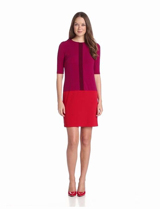 Donna Morgan Women's Jewel Neck Drop Waist Color Block Dress, Cerise Multi, 8 at Amazon Women's Clothing store