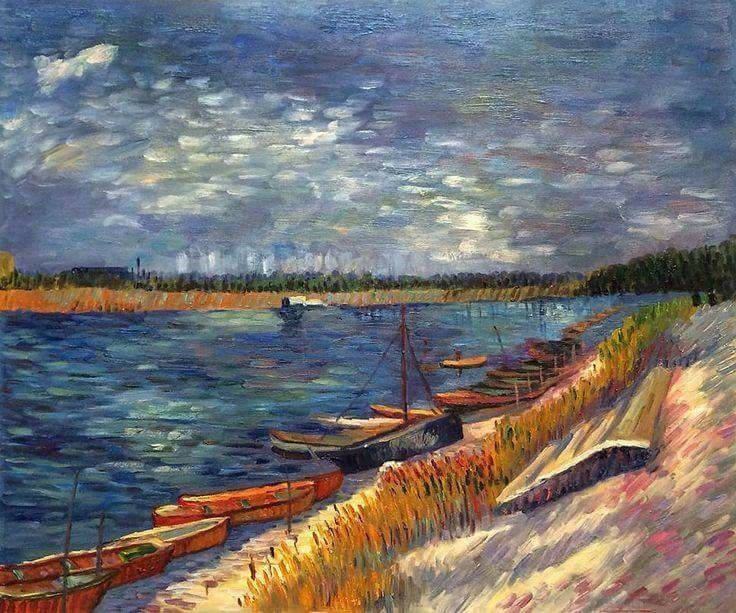 Vincent Van Gogh Seine with moored boats, spring. 1887