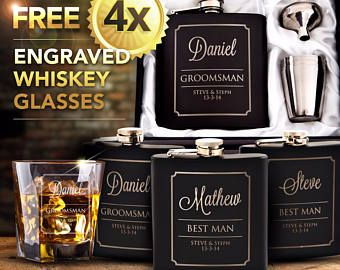 4x Black Engraved Hip Flask Gift Personalised Wedding Groomsman Bridal Party Gift Boxed, with FREE whiskey glasses