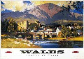 Wales Vintage British Railway Travel Poster Fishing Conway Castle with Snowdon in the background